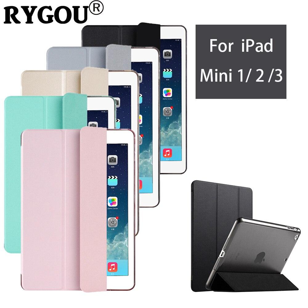 Rygou for iPad mini Case, Tri-fold Smart Cover Yippee Color Ultra Slim PU Leather Transparent Back Case for iPad mini 1 2 3