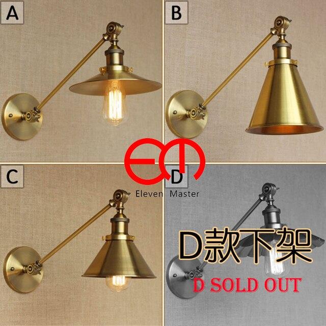 Loft Retro Wall Lamp Adjule Head E27 Bronze Iron Bedside Reading Bedroom Lighting Sconce Wwl012