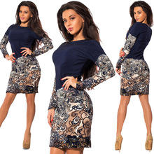 European style vintage print patchwork long sleeve woman dresses spring and autumn sexy pencil mini female 90s
