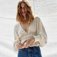 Jastie V Neck Button Crop Top Puff Sleeve Boho Blouse Shirt 2018 Summer Shirts Top Ruffle Waist Slim Women Shirt Blouse Pullover