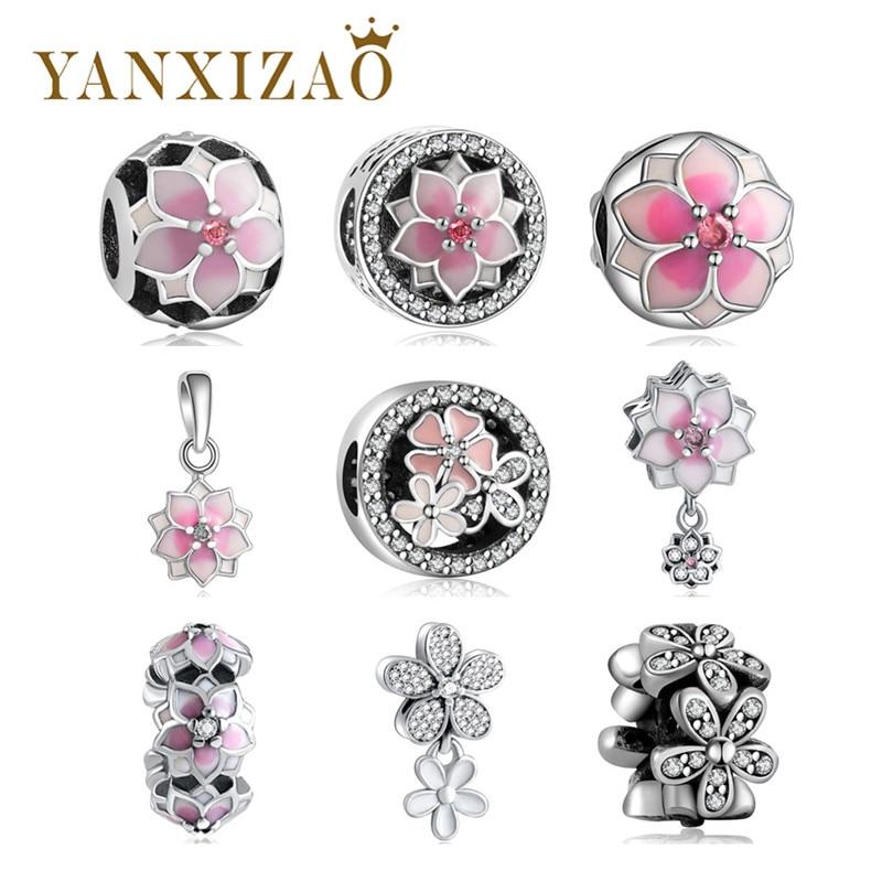Yanxizao новые женские Fit Pandora оригинальный женский браслет с шармами 925 Серебряные шарики розовый обещает с цирконом цветок DIY ювелирных Xin1