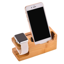 Besegad 3-port Bamboo Wooden USB Charger Charging Station Dock Stand Organizer for Apple Watch iWatch Series 1 2 3 iPhone 7 6 6S
