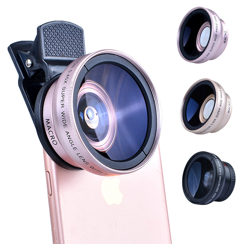 imágenes para HD 37 MM 0.45x Lente Super Gran Angular y 12.5x Lente Macro para iphone 7 plus 6 s 5S samsung s7 s6 note 4 lente de la cámara kit 0.45