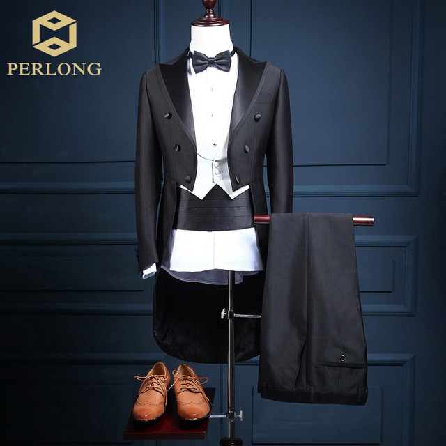 5 Piece (Jacket+Pants+Vest+Bow tie+Belt) 2016 High Quality Brand Tailcoat Suits Men's Blazers Slim Fit Groom Wedding Prom Tuxedo