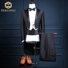 5 Piece (Jacket+Pants+Vest+Bow tie+Belt) 2016 High Quality Brand Tailcoat Suits Men's Blazers Slim Fit Groom Wedding Prom Tuxedo