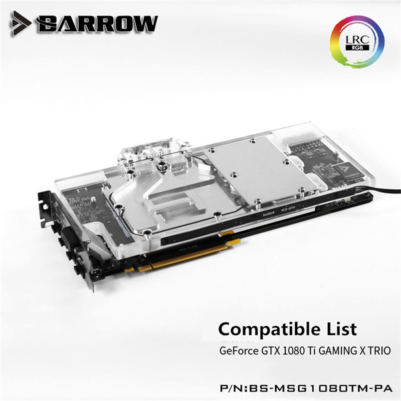 Barrow GPU Water Block (msi GTX1080Ti GAMING X TRIO) Aurora  Graphis Card Full Coverage BS-MSG1080TM-PA computador cooling fan replacement for msi twin frozr ii r7770 hd 7770 n460 n560 gtx graphics video card fans pld08010s12hh