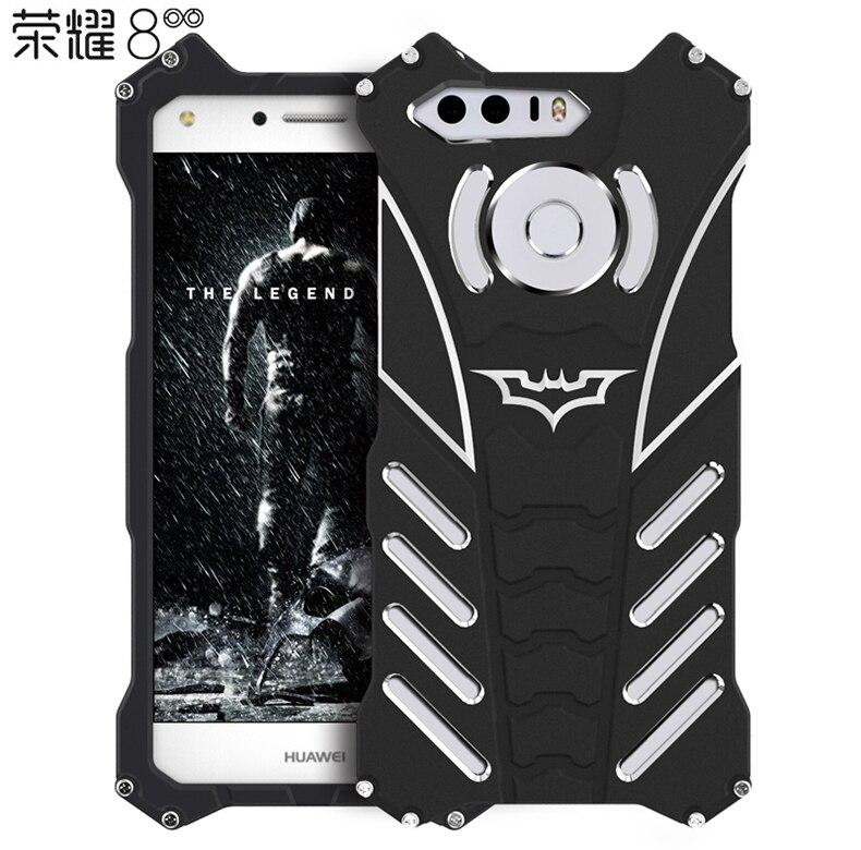 R-JUST For HUAWEI honor 8 V8 case Armor Heavy Duty Metal Aluminum BATMAN protect Skeleton head phone cases cover+BATMAN bracket