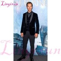 Linyixun Black Velour Jacket Vest Set Slim Fit Men Suit 3 Pieces Casual Groomsmen Groom Tuxedo Velvet Prom Men Suits
