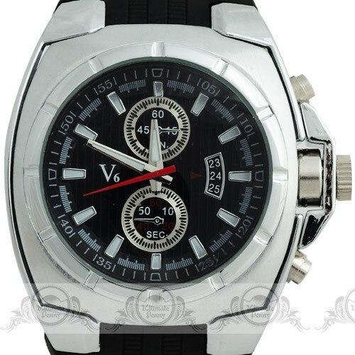 Лидирующий бренд V6 Часы Новый Стиль Высокое Стандартный покрытие Сталь ободок Decorational суб-набор Для мужчин Sport Кварцевые часы Резиновая ...