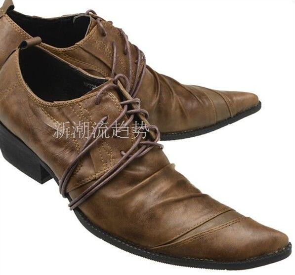 Estilo occidental Retro Hombres Zapatos de Vestir Zapatos Punta estrecha Lace Up Oxford Zapatos Hombre Negro