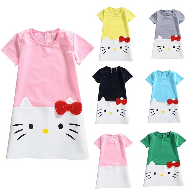 170a5b62c7ab8 US $7.84 20% OFF|Hello Kitty Baby Girls Dress For Girls Party Dress 2018  Hot Sale Princess Christmas Lovely Short Kids Children Clothing 2 10Y-in ...