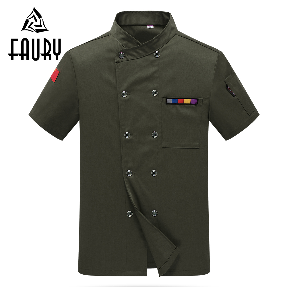 Unisex Short Sleeve Double Breasted Chinese Restaurant Canteen Cook Wear Jacket Summer Food Service Uniforms Tops Aprons M-4XL
