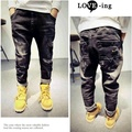 Boy Autumn and Winter Fleece Ripped Jeans