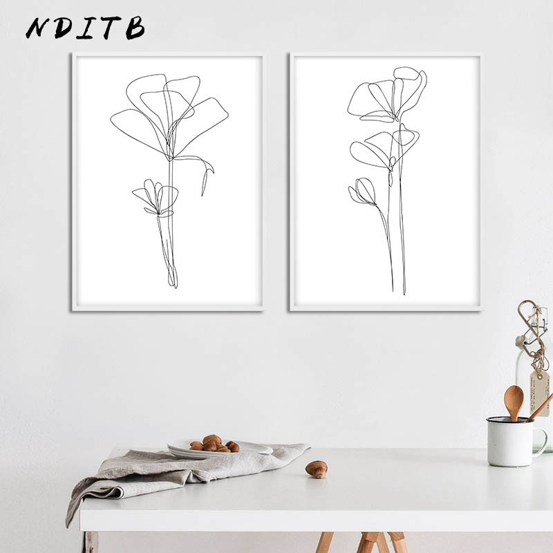 Matisse Line Drawing Flower Wall Art Canvas Abstract Poster Simple Print Painting Minimalist Modern Room Home Decoration Picture