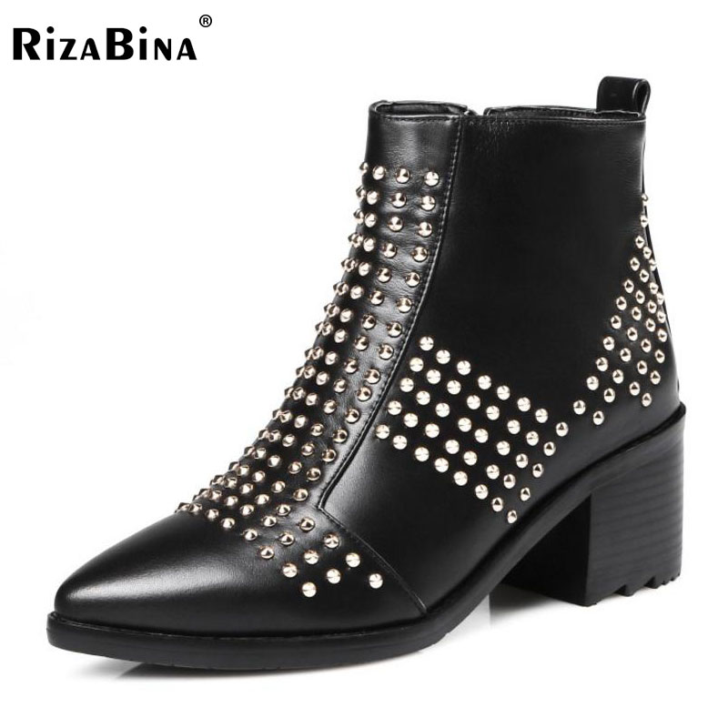 RizaBina Size 33-45 Women Real Leather High Heel Boots Rivet Zipper Mid Calf Boots Warm Shoes Winter Short Botas Women Footwears stylish women s mid calf boots with solid color and fringe design