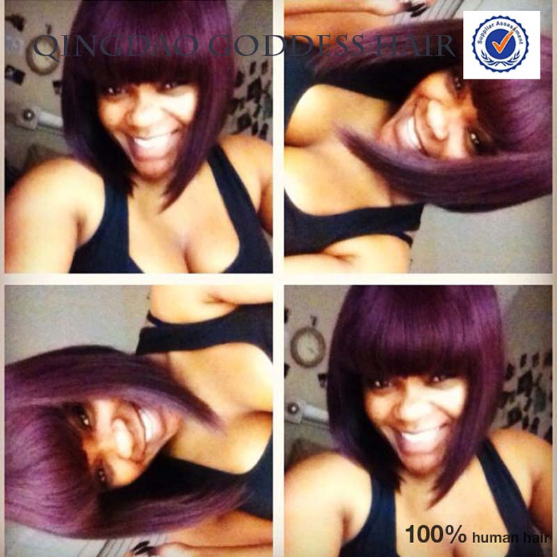 Top Selling Virgin Unprocessed Hair Full Lace Front Wig Bob Style