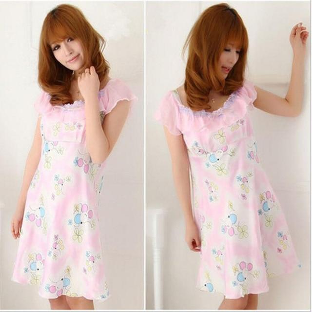 ... free shipping 0dffa b549c Today Special Cotton Nightgown Womens Print Women  Sleepwear Sleeveless O-Neck ... 434b3dff5
