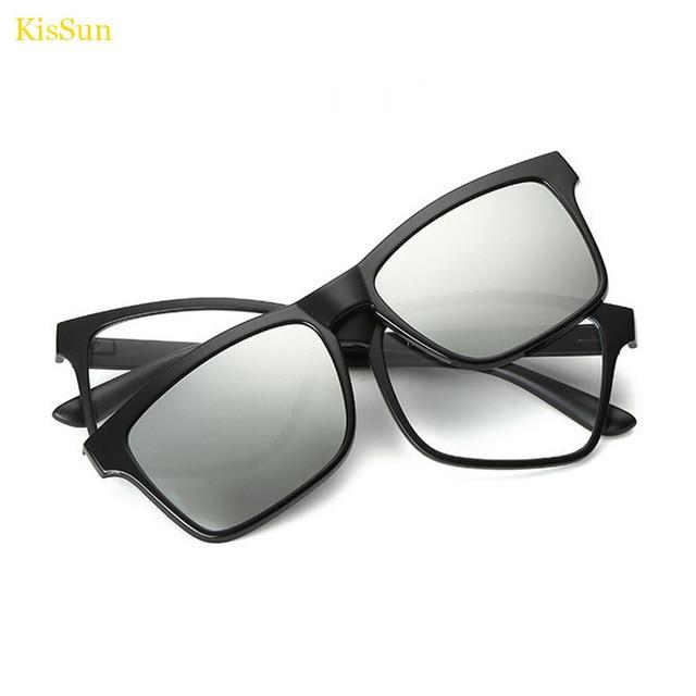 Rectangl Style Titanium Eyeglasses Magnetic Clip Men\'s Glasses Frame ...