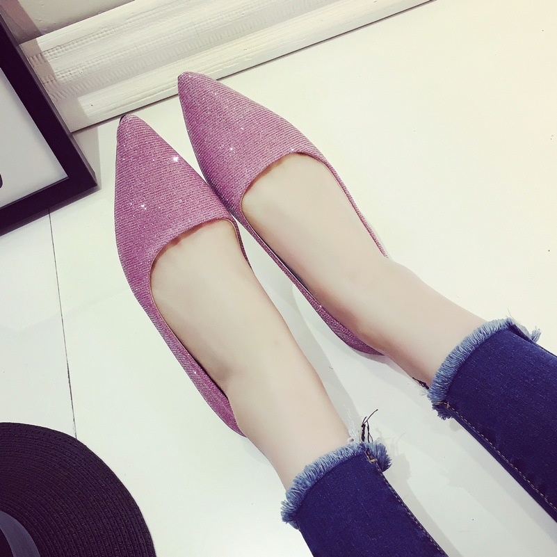 Spring/Autumn New Fashion Women Flats Shoes Pointed Toe Ballet Flats Single Women's Shoes Sequined Casual Shoes Woman Loafers new fashion woman flats spring summer women shoes top quality strappy women sandals suede pointed toe gladiator ballet pumps