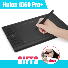 Original Junta Tablet Dibujo Tabletas Gráficas HUION 1060 Pro + Digital Panel Pad Con USB Pen + Anti-fouling guante como Regalo