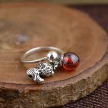 925 Серебряное кольцо с подвеской в виде рыбки, Красный кубический циркон, Настоящее Серебро S925 пробы, тайское серебро, кольца для женщин, ювелирное изделие, регулируемый размер