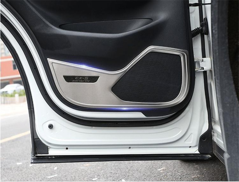 Protective pad  High quality stainless steel car door anti kick mat For Mazda CX-5 2017 2018 2019 Second generation Car stylingProtective pad  High quality stainless steel car door anti kick mat For Mazda CX-5 2017 2018 2019 Second generation Car styling