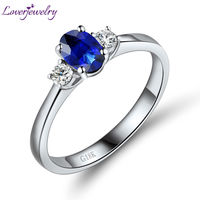 Solid 18K/Au750 White Gold Natural Blue Sapphire Ring Diamond Engagement Sapphire Ring For Sale WU220