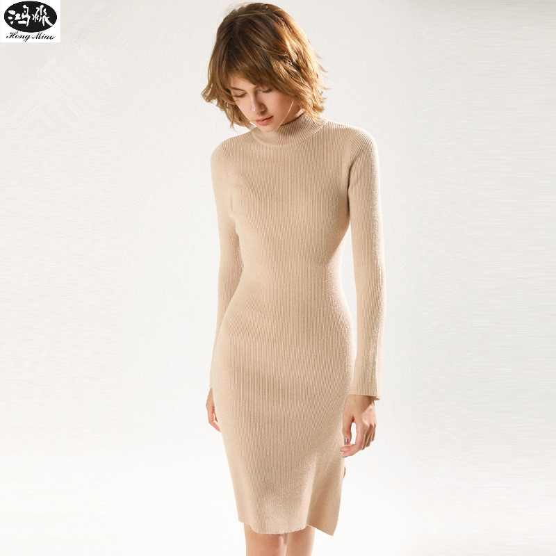 2018 Autumn Winter New Women Sweaters dress Knitted Slim Standirregular Cut In Long Section Sweater dresses Casual Style