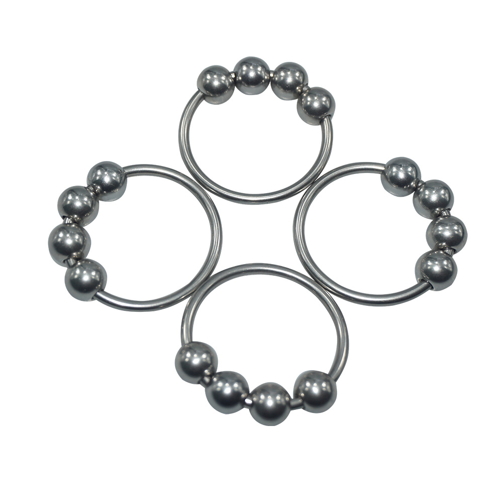 Dia 32mm 4pcs-set stainless steel beads penis jewelry metal lock cock ring jewel sex toy for men