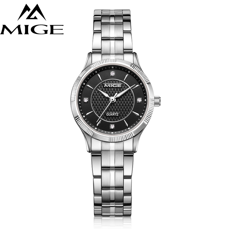 Mige 2017 Top Brand Luxury Fashion Casual Lover Ladies Watches Steel Case Black Dial Female Clock Waterproof Quartz Women Watch mige 20017 new hot sale top brand lover watch simple white dial gold case man watches waterproof quartz mans wristwatches
