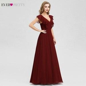 Image 3 - Ever Pretty Burgundy Bridesmaid Dresses A Line V Neck Ruffles Elegant Wedding Guest Dresses EP07902BD Vestidos Fiesta Boda 2020