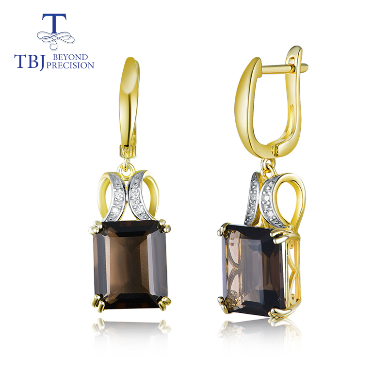 TBJ Natural Smoky gemstone clasp earring 925 sterling silver fine jewelry for women daily wear best