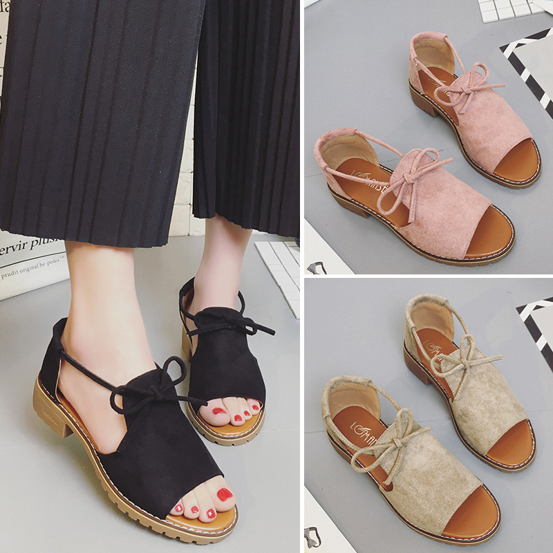 2018 New Thick with Sandals Female Summer Fish Mouth Buckle Roman Shoes Solid Color Low heeled 2018 New Thick with Sandals Female Summer Fish Mouth Buckle Roman Shoes Solid Color Low-heeled Women Sandals