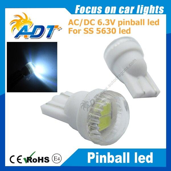 100pcs AC/DC 6.3V 5630SMD Round Lens Non flicking W5W #555 wedge pinball led Light