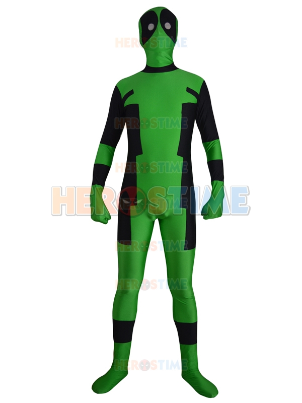 Free Shipping Newest Green and Black Cool Deadpool Cosplay Costume Spandex Lycra Halloween Full Bodysuit Zentai Suit
