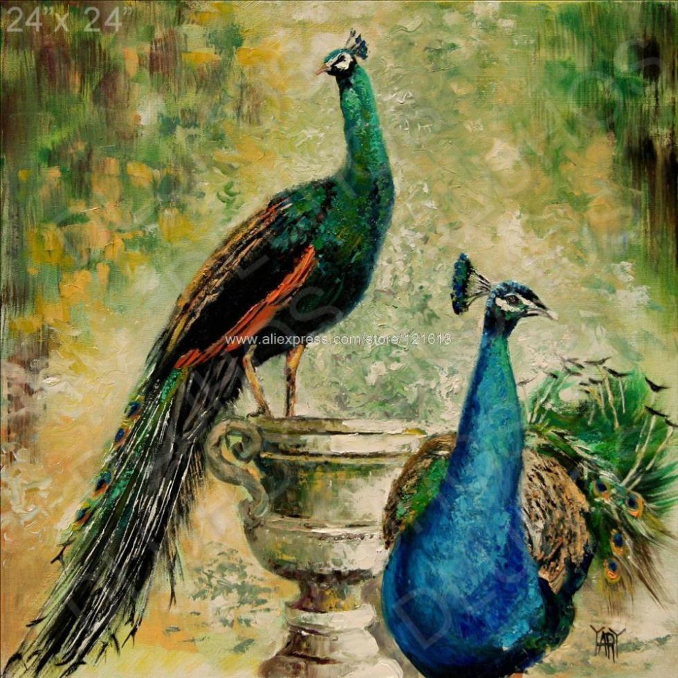 Garden Peacock Birds Animal Italy Large Modern Oil ...