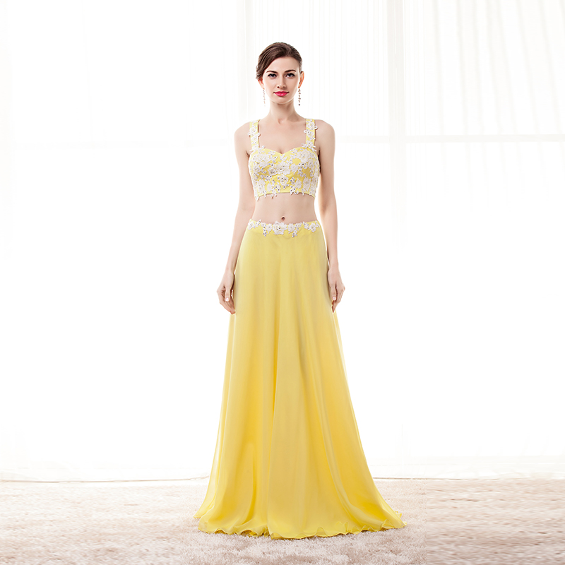 2ef3e349e41c3 US $90.09 9% OFF Aliexpress.com : Buy Formal Women Prom Dress 2019 Two  Pieces Long party dress Yellow 2 Piece Evening Dresses Long Appliqued Lace  ...