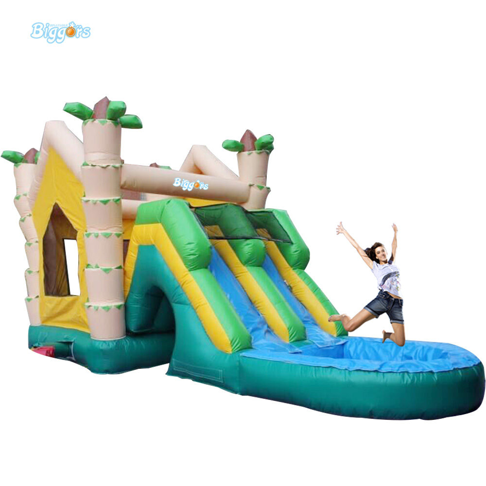 Commercial Tropical Inflatable Slide Inflatable Water Slide Pool With Air Blowers popular best quality large inflatable water slide with pool for kids
