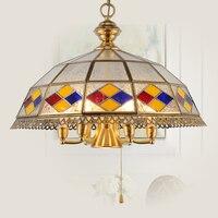 Thuis Kroonluchter Chateau Dining Retro Zuidoost-aziatische Messing Multicolor Glas Kroonluchter Pastorale Mediterrane ZA626 ZL155 YM