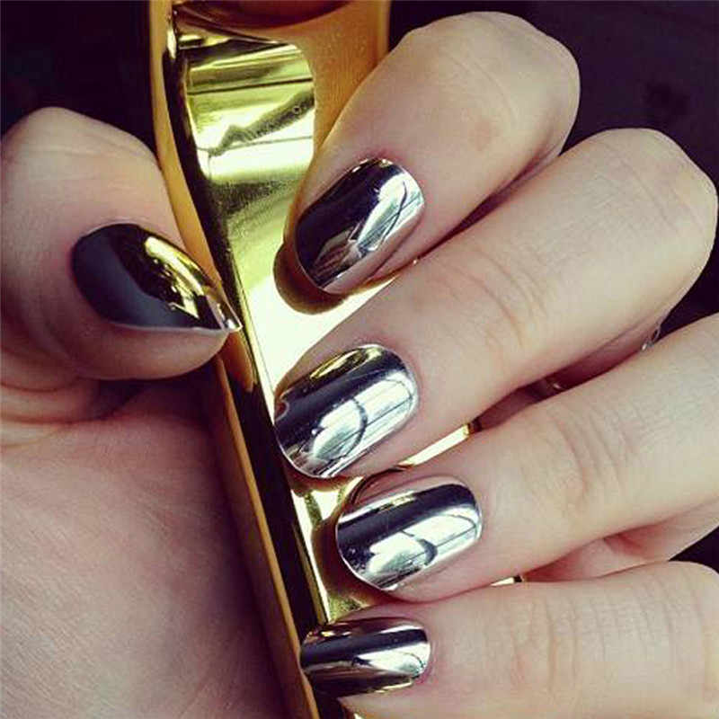 Bling Mirror Nail Glitter Powder Fashion Gold/Sliver Nail Art Sequins Chrome Nail Gel Polish Pigment Nail Art Decors