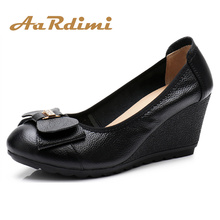 AARDIMI Spring Platform Women Shoes Genuine Leather Casual Slip-on High Heels Butterfly-knot Shallow Wedges Shoes Women Pumps