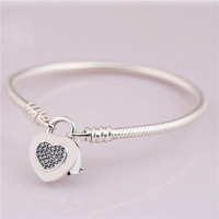 925 Sterling Silver Snake Chain Fit Original Pandora Moments Smooth Bracelet with Heart Padlock Clasp for Women DIY Jewelry Gift