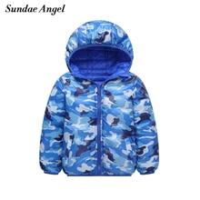 ด้านคู่เด็กหญิงฤดูหนาวแจ็คเก็ต Hooded หนาเด็ก Outerwear Coats Camouflage ลง Parkas Warm เสื้อผ้าเด็ก 3  12 Y