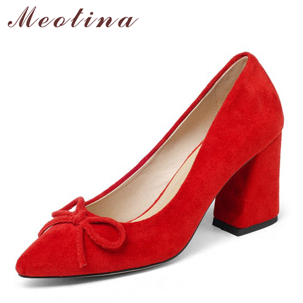 Meotina Genuine Leather Women Pumps High Heels Pointed Toe Nude Shoes 2018 Spring Block Heels Ladies Party Shoes Bow Size 34-43 meotina genuine leather women shoes female plaid party shoes block heel bow strap high heels kid suede ladies pumps 2018 spring