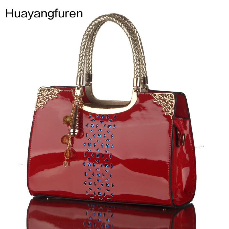 High quality patent leather hollow out ombre handbag multi functional casual shoulder bag ladies fashion handbag