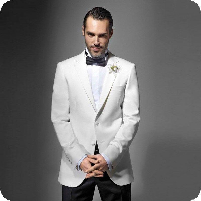 Custom Made White Men Suits Groomsmen Wedding Tuxedo For Man Blazer Notched Lapel 2Piece Slim Fit Terno Masculino Costume Homme