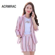 Women suits Slim summer stripe Half sleeve jacket shorts 2-piece set