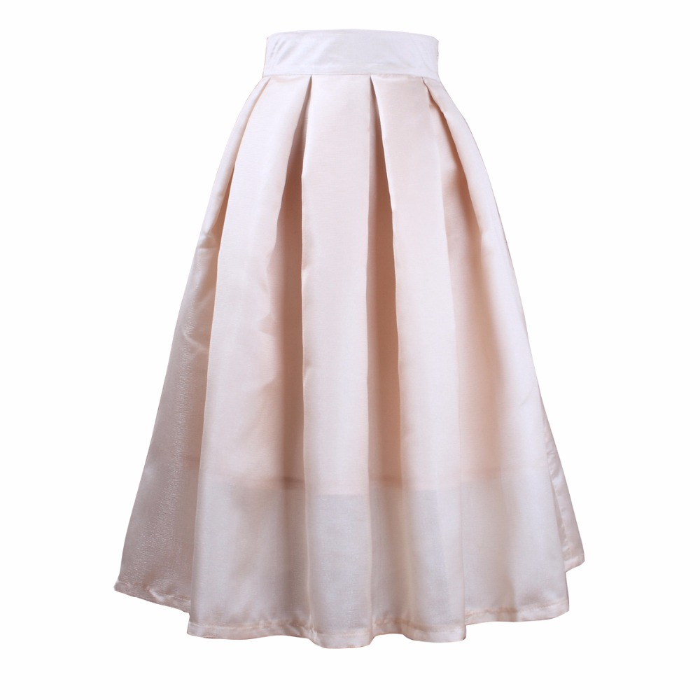 BACHASH 2018 New Women Linen Knee Length Skirt Elastic Waist Ball ...