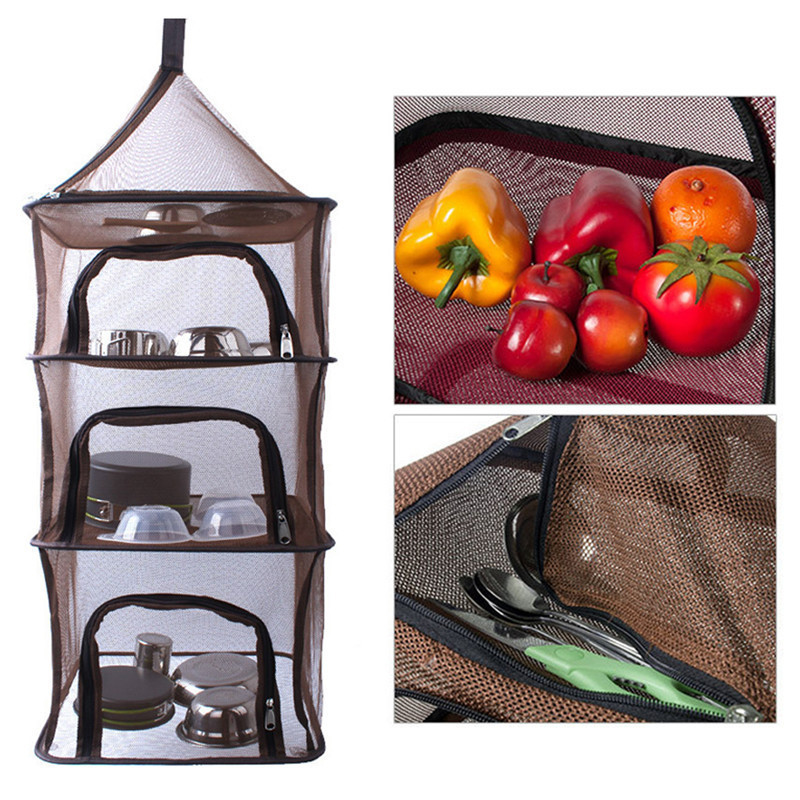 Image 2 - Camping Dry Net Storage Basket Shelf  Portable Folding 4 Layer Hanging Mesh Foods Dish Outdoor Campping BBQ Tableware Picnic Bag-in Picnic Bags from Sports & Entertainment