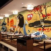 Free Shipping Japanese Cartoon Character Wallpaper Japanese Style Restaurant Restaurant Retro Building Hot Pot Sushi Barbecue